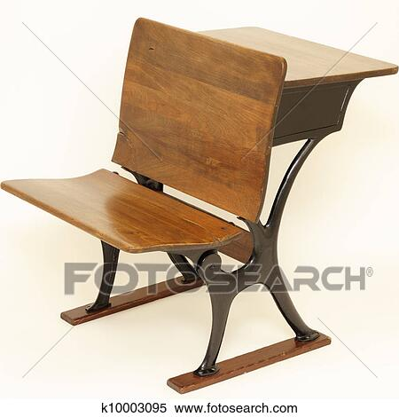 Stock Image - Antique School Chair and Desk. Fotosearch - Search Stock  Photos, Mural - Stock Image Of Antique School Chair And Desk K10003095 - Search