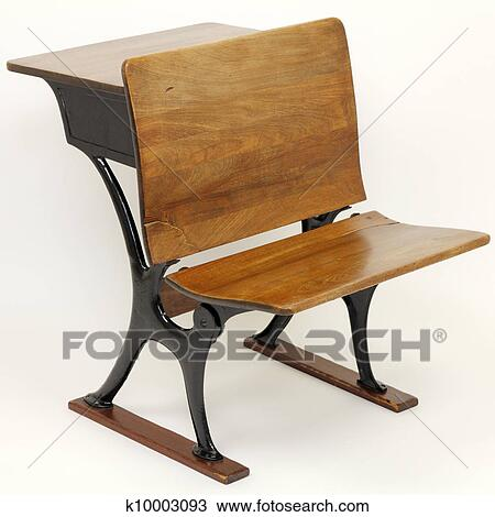 Stock Photo - Antique School Desk Chair Combination. Fotosearch - Search  Stock Images, Poster - Stock Photo Of Antique School Desk Chair Combination K10003093