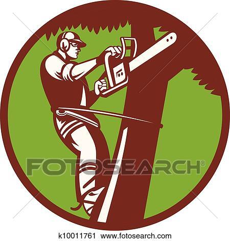 clipart of arborist tree surgeon trimmer pruner k10011761 search rh fotosearch com clip art tree cutting tree trimmer clip art