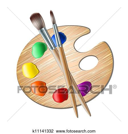 Clipart Of Art Palette With Paint Brush For Drawing K11141332