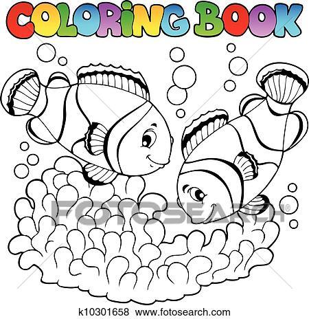 Clip Art Ausmalbilder Zwei Niedlich Clown Fische K10301658