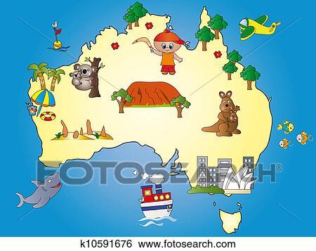 Australie Carte Banque D Illustrations K10591676 Fotosearch