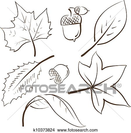 Clipart Of Autumn Leaves Sketch K10373824 Search Clip Art