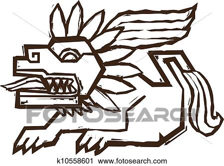clipart of aztec winged lion k10558601 search clip art rh fotosearch com aztec clipart gif aztec warrior clipart
