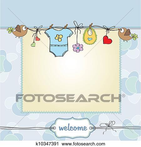 Baby Boy Shower Card Clipart K10347391 Fotosearch