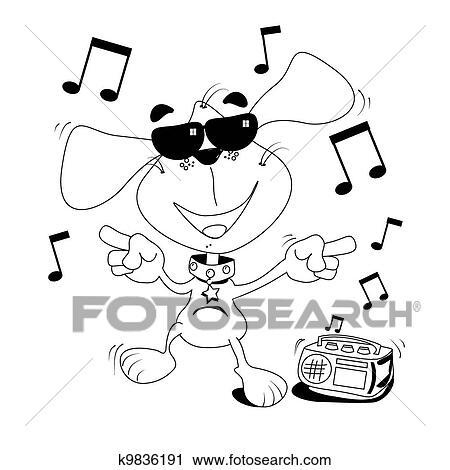 Clipart - bailando, perro, libro del colorante k9836191 - Buscar ...