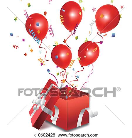 Clip Art Of Balloons Out The Open Gift Box K10502428