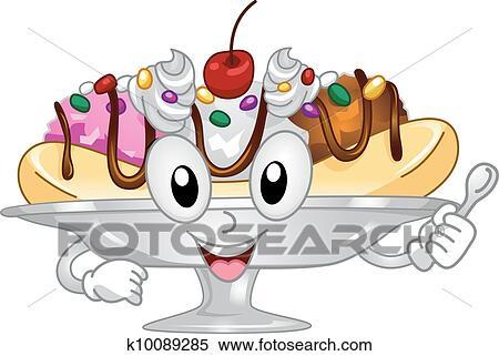 clipart of banana split mascot k10089285 search clip art rh fotosearch com banana split bowl clipart banana split clipart free