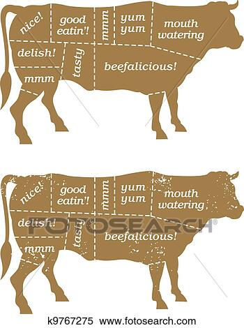 Clipart Of Barbecue Beef Cuts Diagram K9767275 Search Clip Art