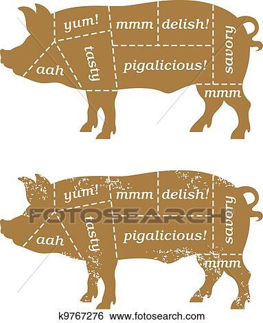 Clip Art Of Barbecue Pork Cuts Diagram K9767276 Search Clipart