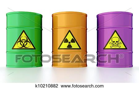 Barrel with toxic waste Drawing | k10210882 | Fotosearch