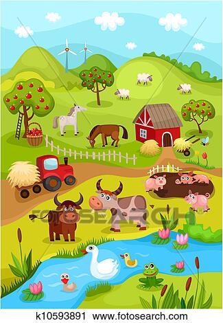 Clipart Bauernhof Karte K10593891 Suche Clip Art Illustration
