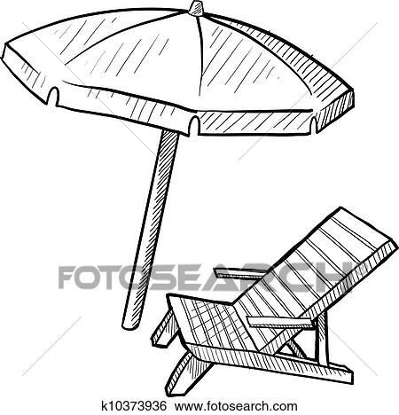 Clip Art Beach Chair And Umbrella Sketch Fotosearch Search Clipart Ilration Posters