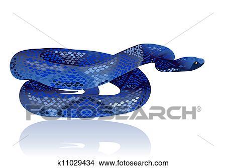 Beau Eau Bleue Serpent Réaliste Clipart
