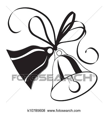 Bell Sketch For Christmas Or Wedding With Bow Clip Art K10785608