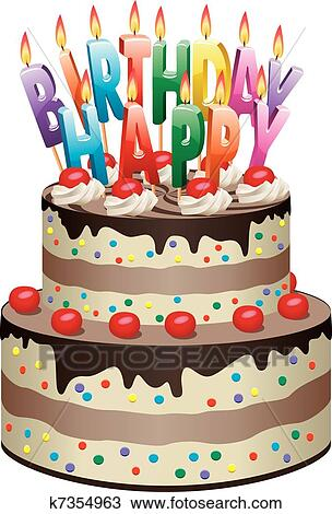 Magnificent Birthday Cake Clipart K7354963 Fotosearch Funny Birthday Cards Online Inifofree Goldxyz