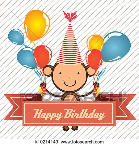 Clip Art Of Birthday Card With Monkey K10214149 Search Clipart