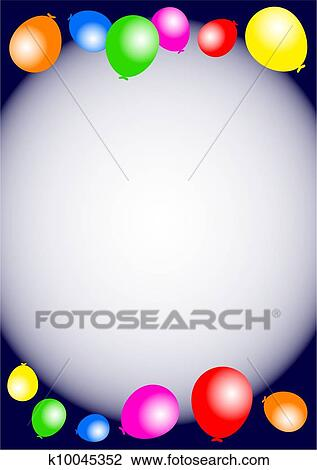 Clip art of birthday party balloon border k10045352 search clipart cute and colourful birthday party balloon border just add your own details in the blank space to create a leaflet or poster for a special event thecheapjerseys Images