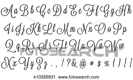 Black Cursive Alphabet Clip Art