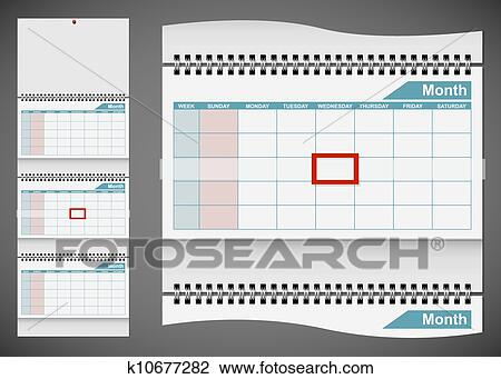 Clipart Of Blank Standard Wall Calendar Template Isolated On Gray