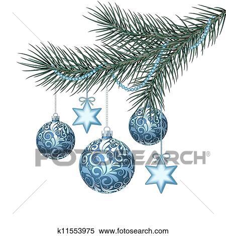 clipart blau weihnachten kugeln auf gr n fichte. Black Bedroom Furniture Sets. Home Design Ideas