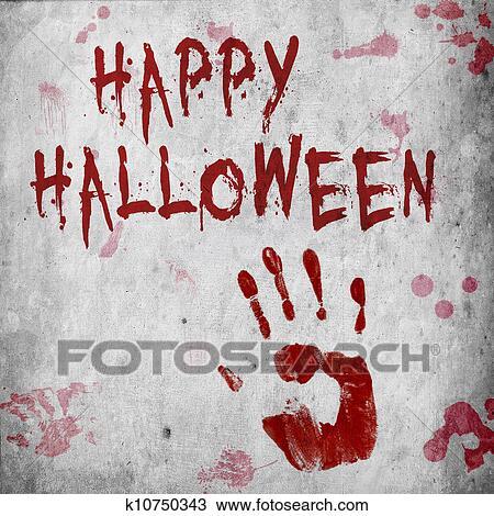 Blood Handprint Halloween Drawing K10750343 Fotosearch