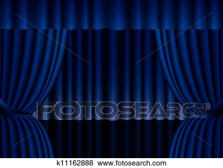 Blue Stage Curtain Background