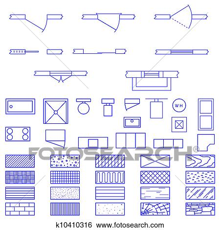 Clip art of blueprint symbols vector k10410316 search clipart complete set of blueprint icons and symbols used by architects and designers in the production of plans and documents malvernweather Images