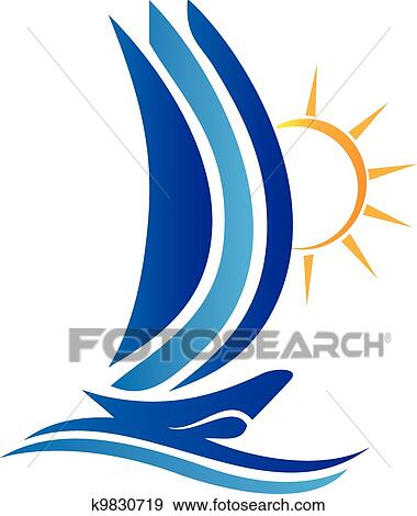 clip art of boat waves and sun logo vector k9830719 search clipart rh fotosearch com