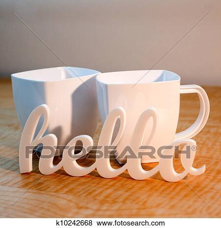 Bonjour Et Grandes Tasses Café Banque De Photo