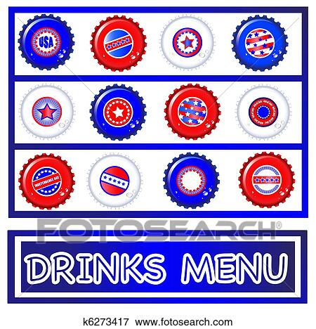 Drinks Menu Template Of Stars Stripes Bottle Caps USA Fourth July Emblems Background And On Separate Layers To Enable Easy Editing