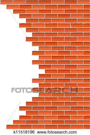 Clip Art Of Broken Brick Wall K11518196