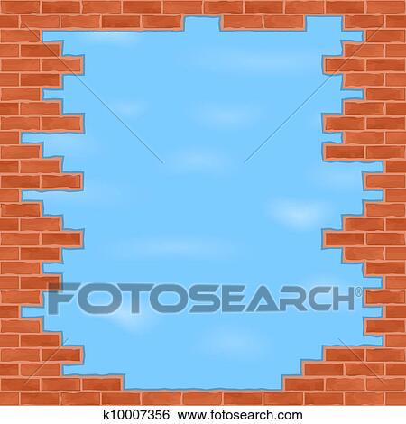 Clip Art Of Broken Brick Wall With Blue Sky K10007356