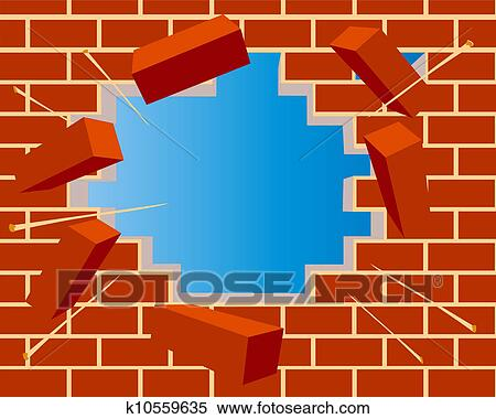 Clipart Of Broken Brick Wall With Hole And Sky K10559635