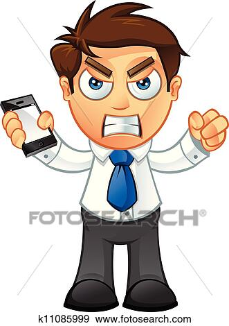 clip art of business man angry with mobile k11085999 search rh fotosearch com angry man clipart black and white angry young man clipart