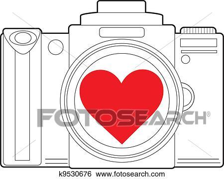Clip Art Of Camera Heart K9530676 Search Clipart Illustration
