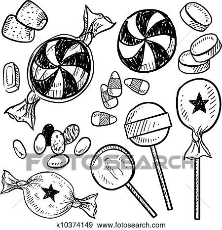 clip art of candy assortment sketch k10374149 search clipart
