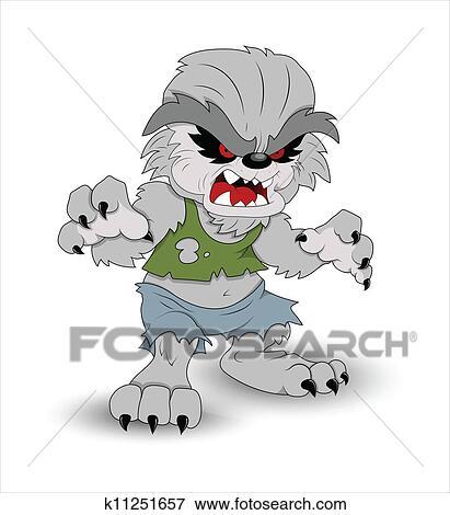 Cartone animato lupo mannaro clip art k fotosearch