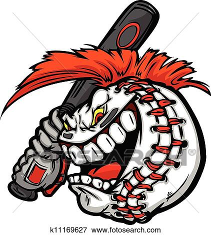 clip art of cartoon baseball ball face with mohawk hair holding rh fotosearch com free baseball cartoon clipart baseball cartoon clipart