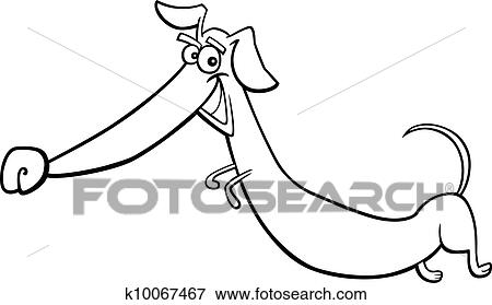 Clip Art Of Cartoon Happy Dachshund Dog For Coloring K10067467