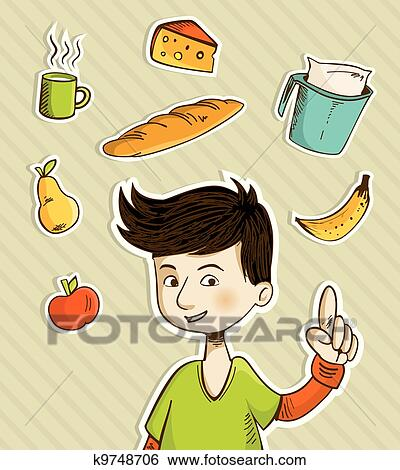 Cartoon teenager shows healthy food Clip Art
