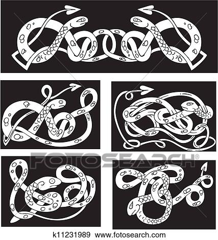 Clip Art of Celtic knot patterns with snakes k60 Search Impressive Celtic Knot Patterns