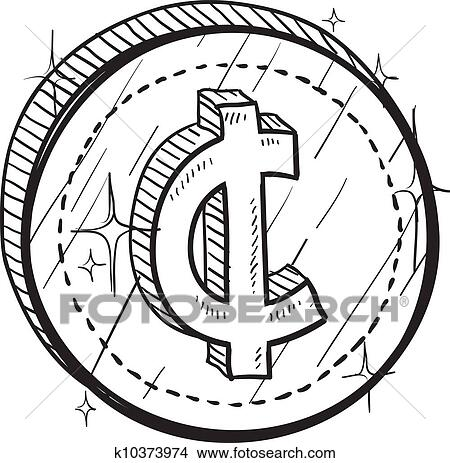 Clipart Of Cent Currency Symbol Coin Vector K10373974 Search Clip