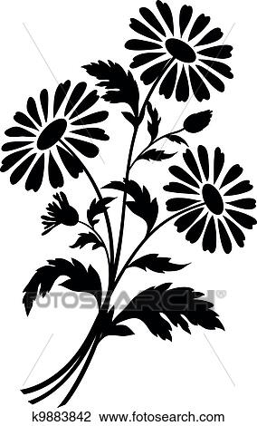 Bouquet of chamomile flowers, black silhouettes on white background. Vector illustration