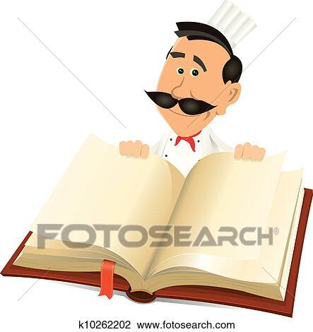 Chef Cuistot Cuisinier Tenue Recettes Livre Clipart