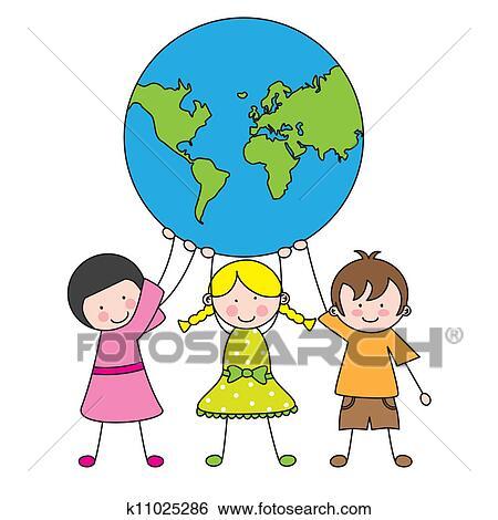 clip art of children holding the globe k11025286 search clipart rh fotosearch com
