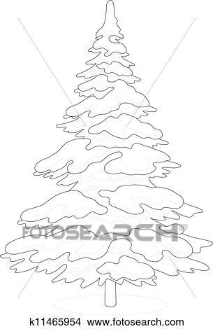 Klipart Choinka Z śnieg Kontur K11465954 Szukaj Cliparty