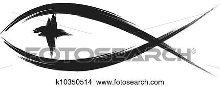clipart of christian fish k10350514 search clip art illustration rh fotosearch com White Jesus Fish White Jesus Fish