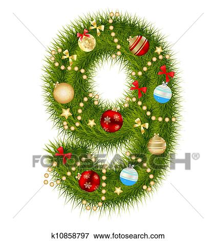 Christmas Alphabet.Christmas Alphabet Number Vector Illustration Clip Art