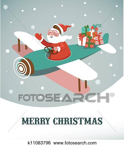 clip art of christmas background with retro airplane and santa